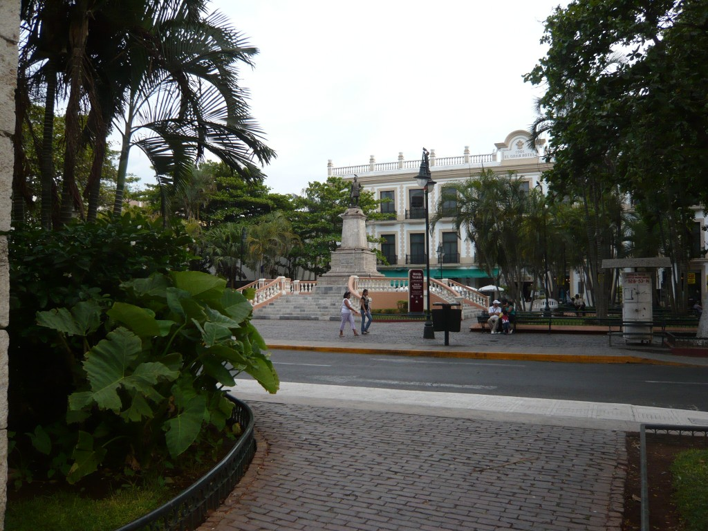 a town square, or 'zocalo', with big palms a-plenty