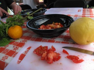 chopping up the tomato harvest- no big deal... but I assure you, THIS was an EVENT