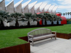 terraces and raised beds of lawn in Robert Irwin's Palm Garden, surrounding Renzo Piano's new pavilion at LACMA