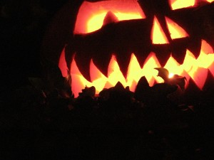 the scariest pumpkin sits on a bed of fluffy ruffles ivy